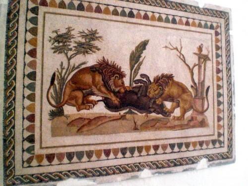 Mosaico conservato all'interno del Museo archeologico di El Jem