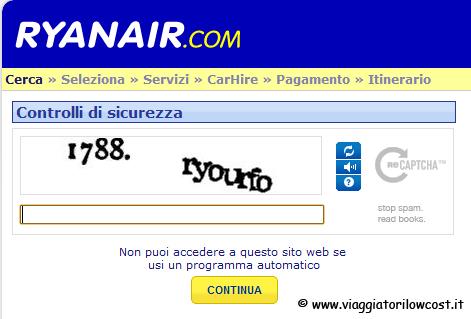 Codici Captcha Ryanair