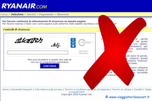 Ryanair elimina codici captcha