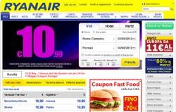 Screenshot Sito web Ryanair