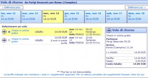 Voli low cost Parigi Roma