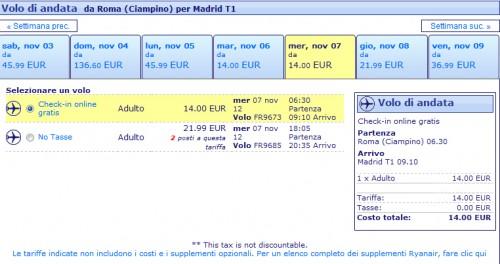 Voli low cost Roma Madrid