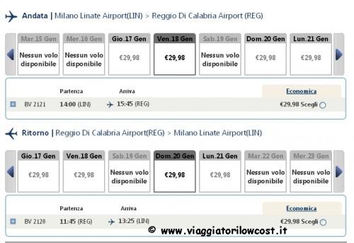 Voli low cost Milano Reggio Calabria