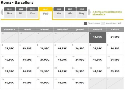 Voli low cost 2013 Roma Barcellona