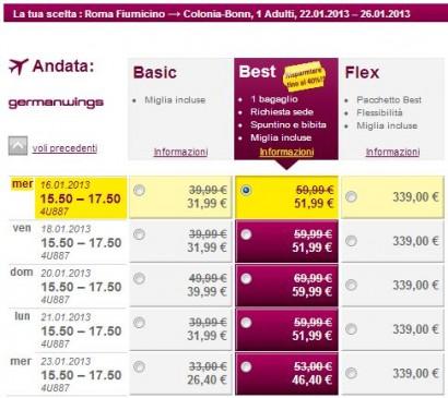 Voli low cost Roma Colonia