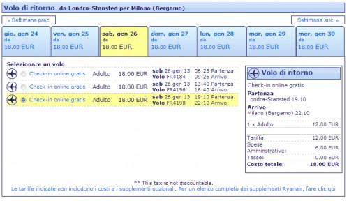 Voli Ryanair Milano Londra