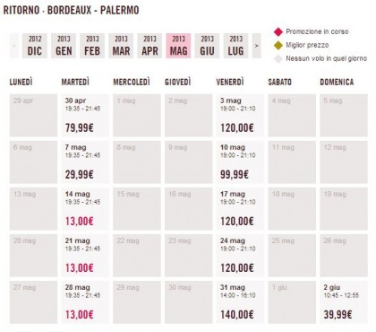 Voli a 13 euro Bordeaux Palermo