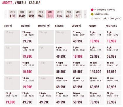Voli low cost Venezia Cagliari