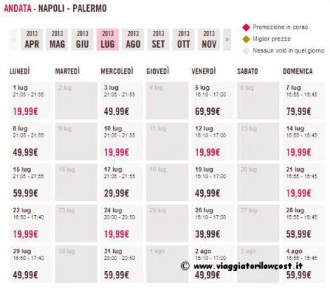 voli low cost Napoli Palermo