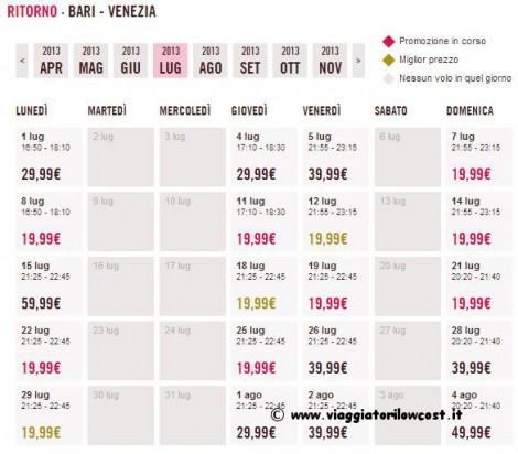 voli low cost Bari Venezia
