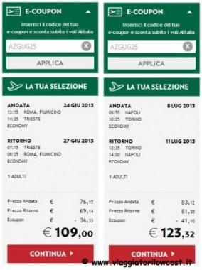 e-coupon Alitalia