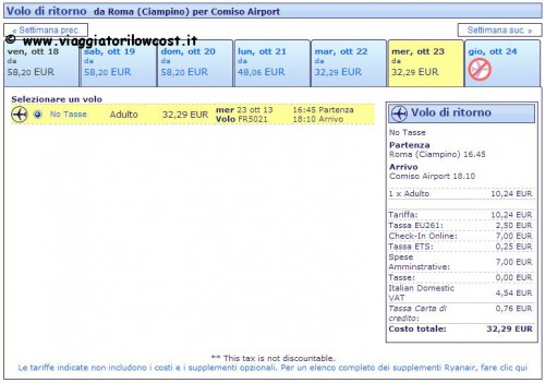 voli Ryanair a Ragusa Comiso