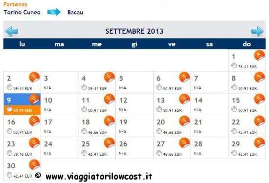 voli low cost Torino Bacau