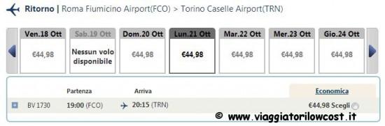 Voli low cost Torino Roma
