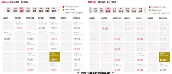 Voli low cost Palermo Genova