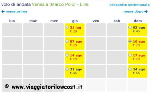 Voli da Venezia per Lille