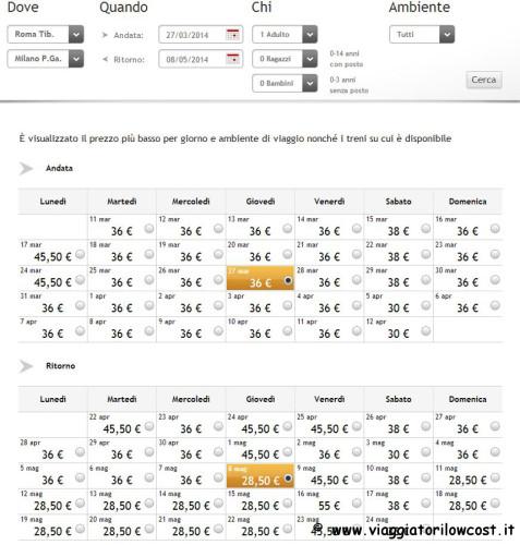 Treni Roma Milano Biglietti Italo low cost