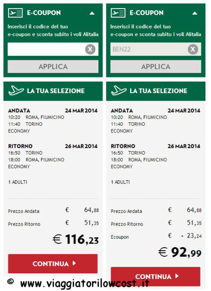voli Alitalia nazionali codice sconto