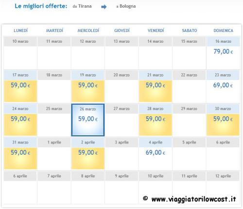 voli low cost per Tirana Codice Airone