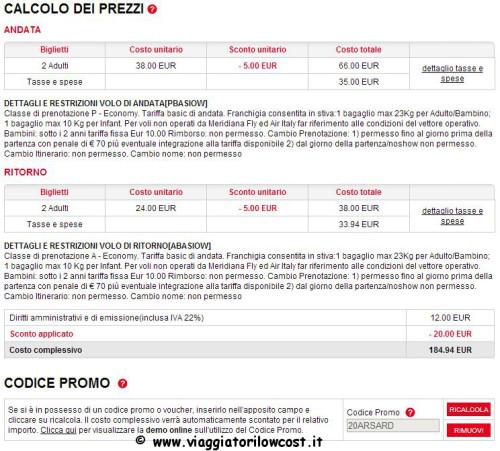 codice sconto Meridiana voli low cost Sardegna