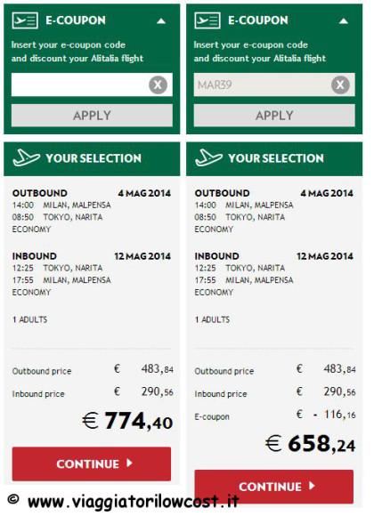 codice sconto Alitalia promo