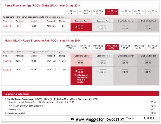 voli per Malta low cost estate