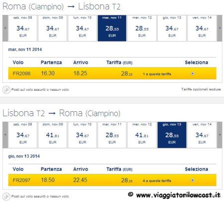 voli low cost Ryanair Lisbona