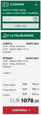codice promo Alitalia Voli America