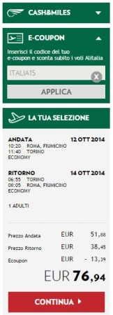 codice sconto Alitalia voli nazionali