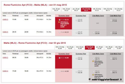 voli low cost per Malta estate 2015