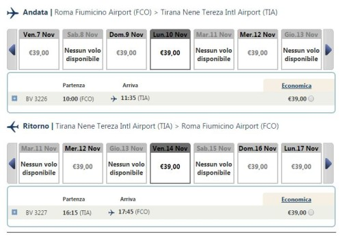 voli low cost per Tirana a 39€