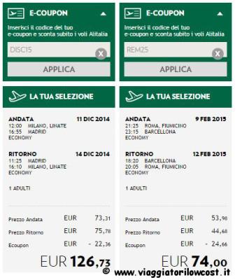 codici sconto Alitalia e-coupon Alitalia