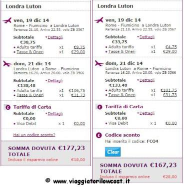 codice Monarch voli low cost per Londra