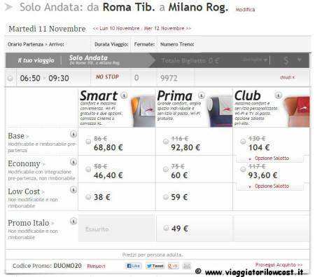Codice Italo Treno viaggi low cost Milano