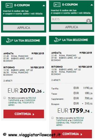 E-coupon Alitalia Voli per l'Argentina