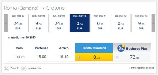 Voli ultra low cost per Crotone di Ryanair