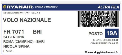 Web Check-in Ryanair carta di imbarco