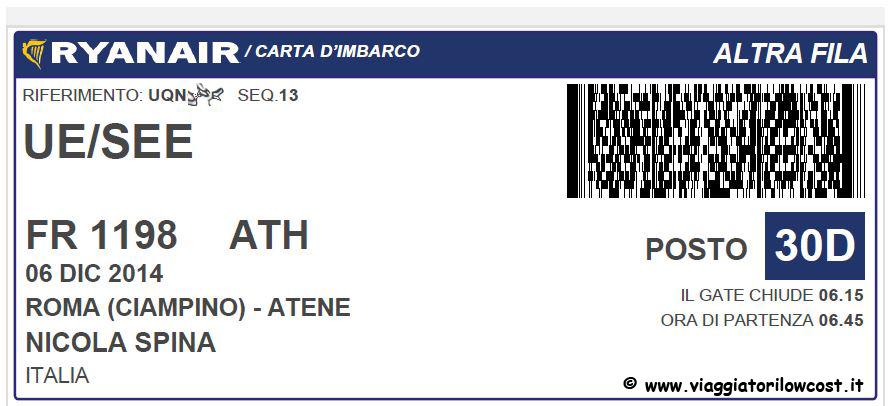 biglietto ryanair