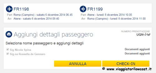 Web Check-in Ryanair estremi documenti aggiunti