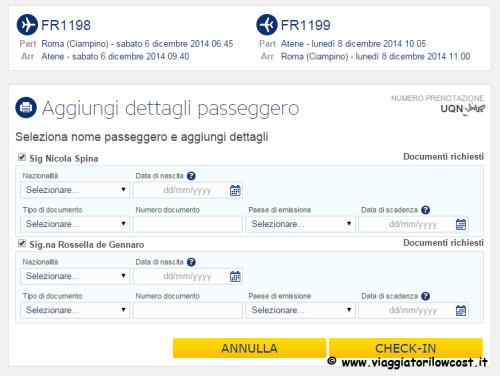 Web Check-in Ryanair documento volo internazionale