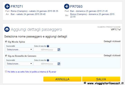 Web Check-in Ryanair documento volo nazionale