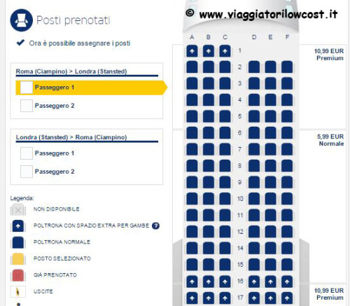 Web Check-in Ryanair posti assegnati gratuitamente