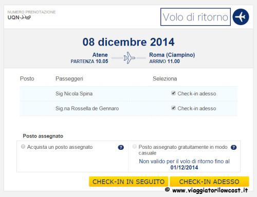 Web Check-in Ryanair check-in in seguito