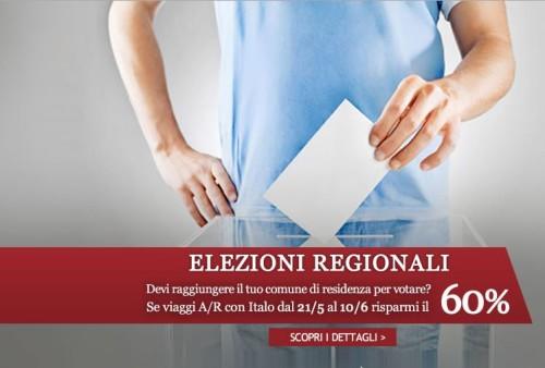 elezioni regionali sconto sui biglietti Italo Treno