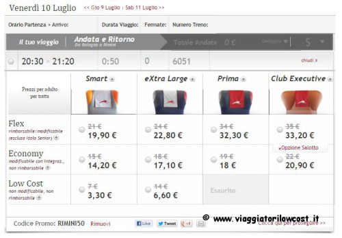 Viaggi low cost Rimini Codice sconto Italo
