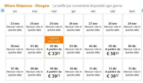 voli low cost Milano Glasgow easyJet