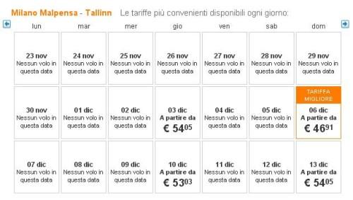 voli low cost Milano Tallinn easyJet