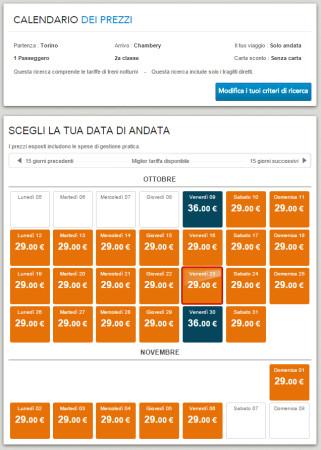 Biglietti low cost Torino Chambery in treno