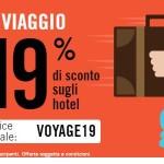 19% di sconto sulle prenotazioni di hotel ed altre strutture