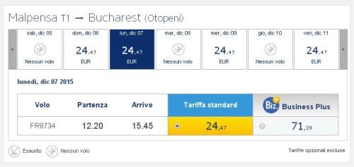 voli low cost Ryanair a Milano Malpensa per Bucarest